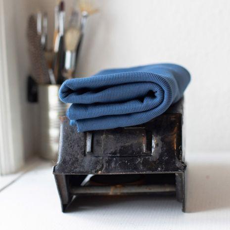 Tissu jersey bord côte côtelé 2x1 BIO - Bleu