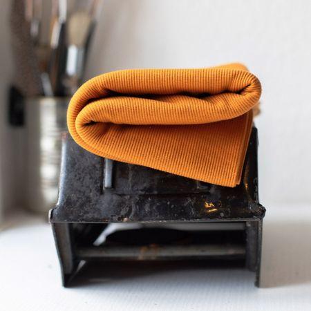 Tissu jersey bord côte côtelé 2x1 BIO - Curry