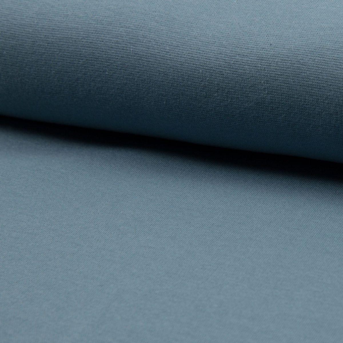 Tissu jersey bord côte BIO - Bleu gris