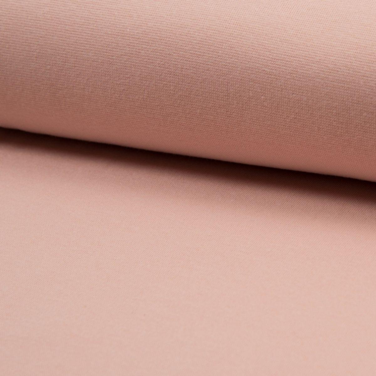 Tissu jersey bord côte BIO - Vieux rose