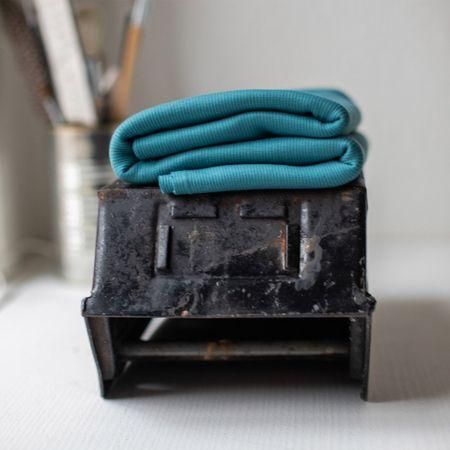 Tissu jersey bord côte côtelé 2x1 BIO - Bleu paon