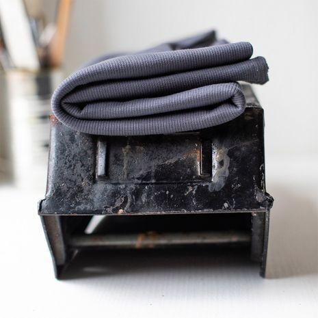 Tissu jersey bord côte côtelé 2x1 BIO - Gris asphalte