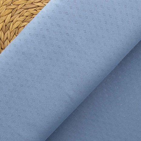 Tissu jersey maille pointelle - Bleu jeans
