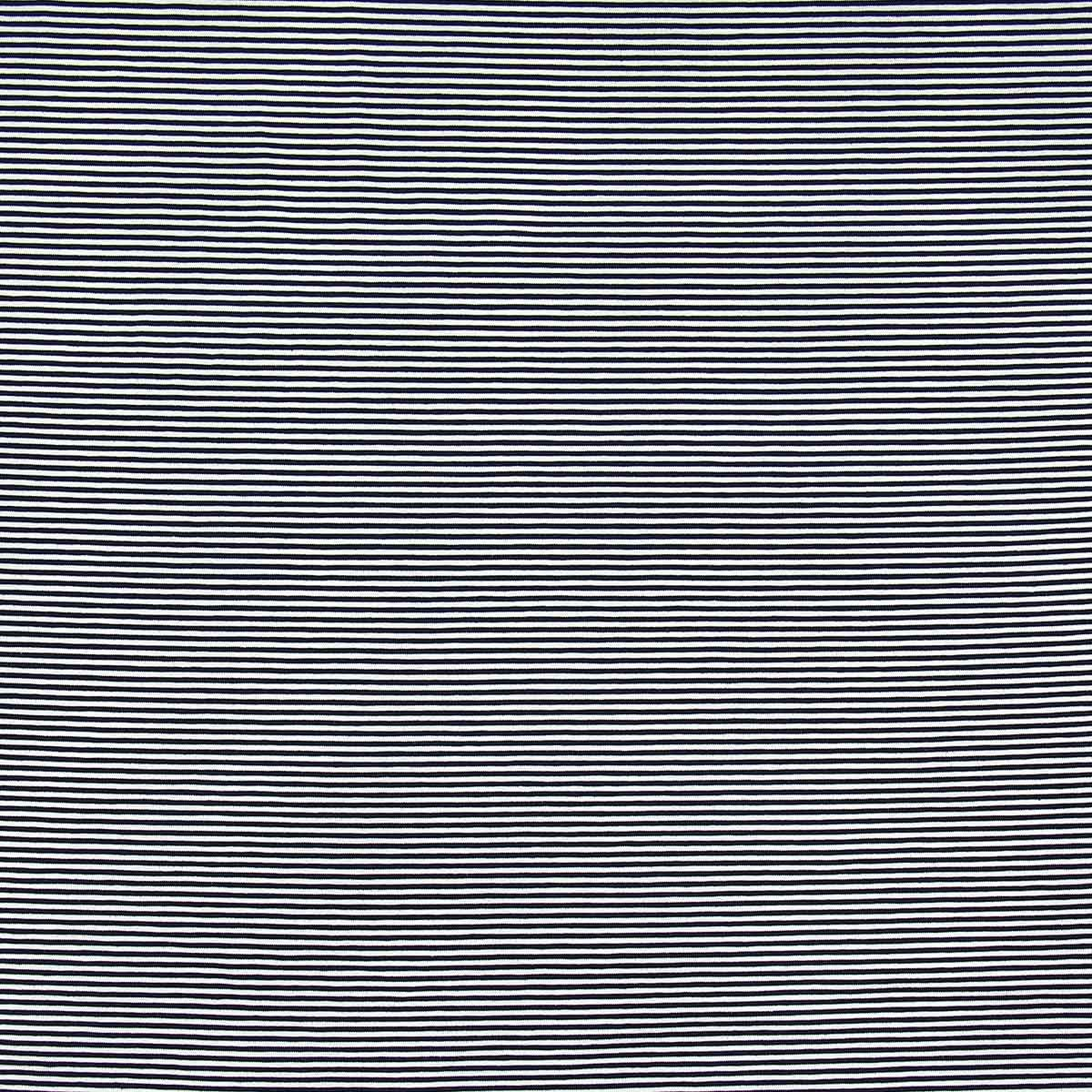 Tissu jersey marinière - Rayures fines bleues