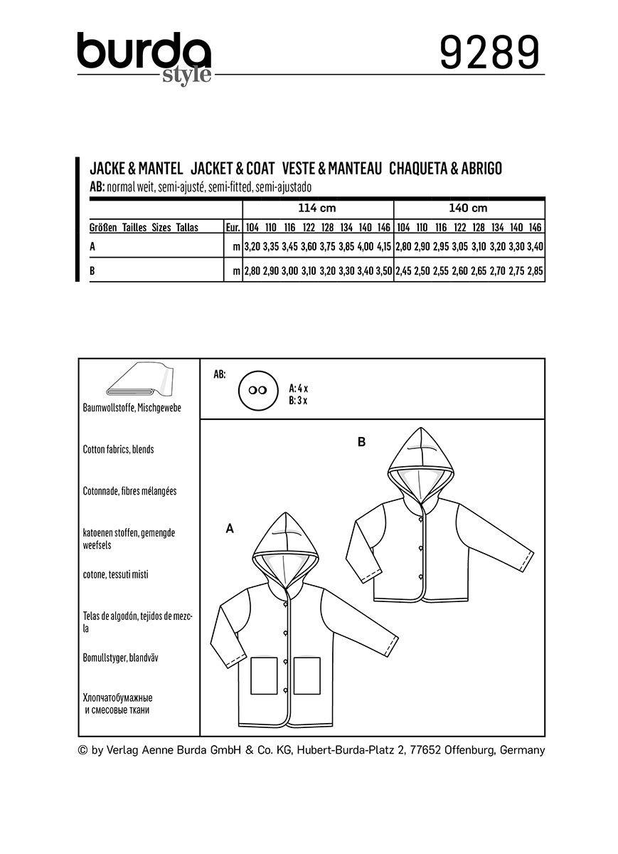 Patron de manteau, veste et capuche - Burda 9289