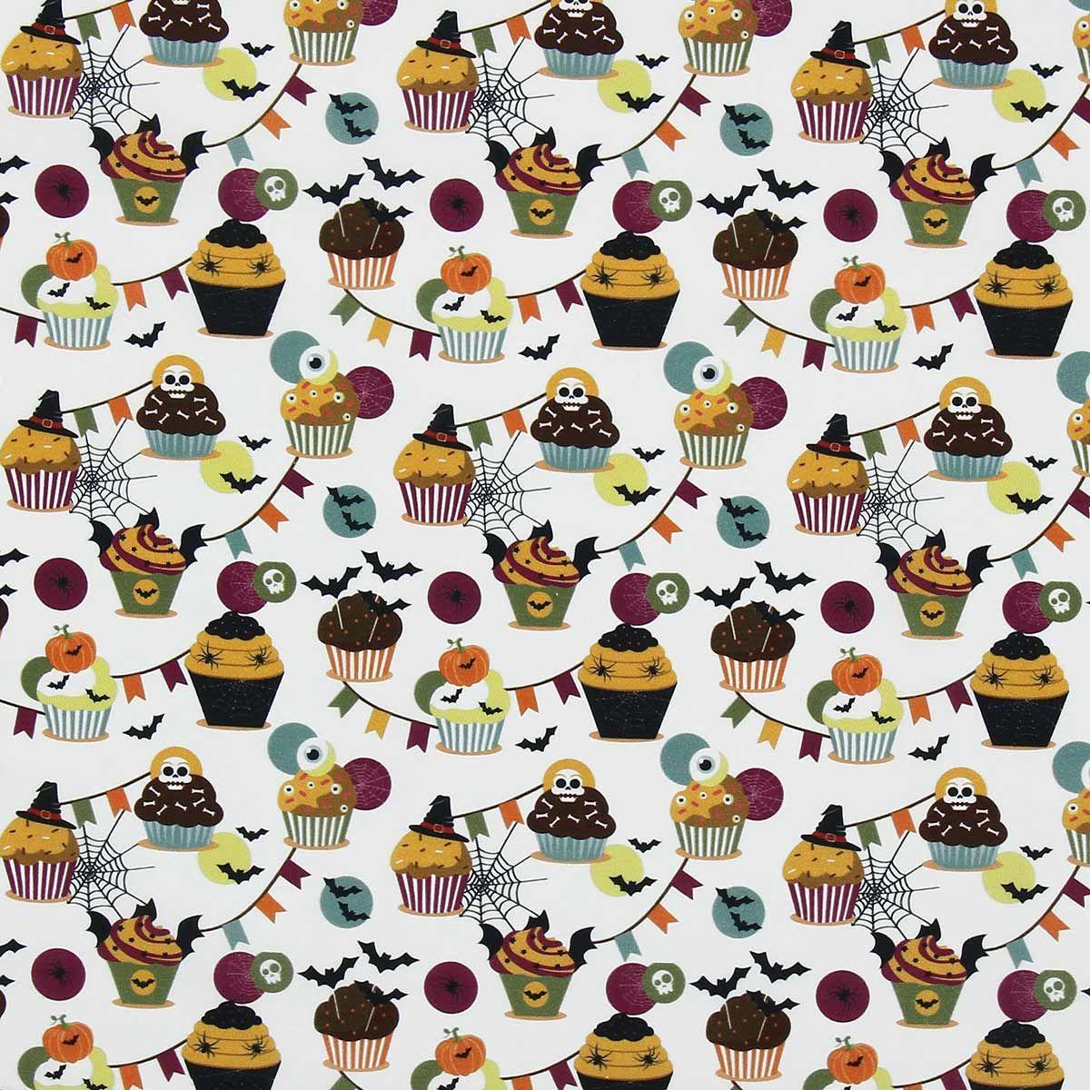 Tissu popeline de coton BIO - Cupcake d´halloween