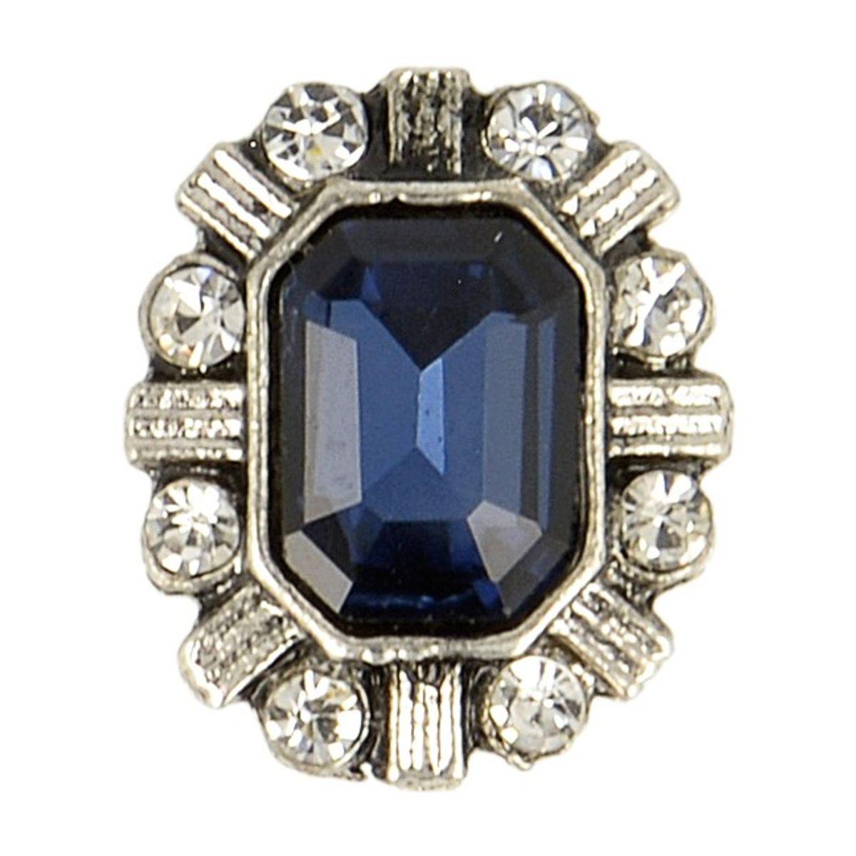Bouton métal bijoux strass - Bleu marine