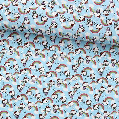 Tissu popeline de coton BIO - Hello kitty arc en ciel fond bleu