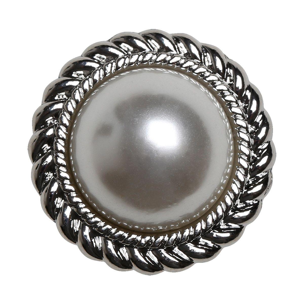Set de 4 boutons Perle 21 mm - Argent