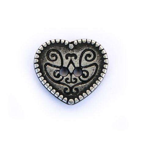 Bouton métal coeur