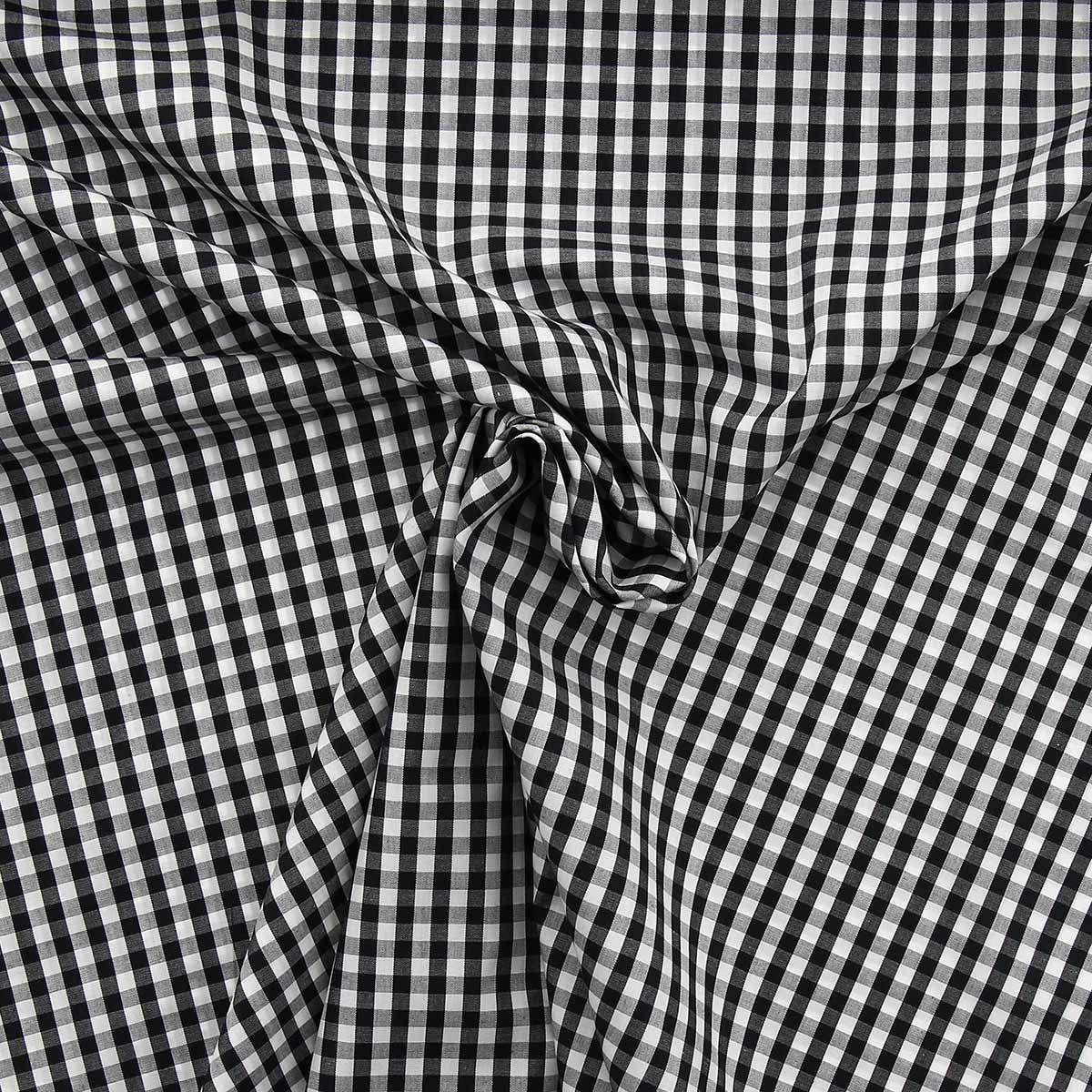 Tissu popeline de coton - Vichy carreaux moyen - Noir