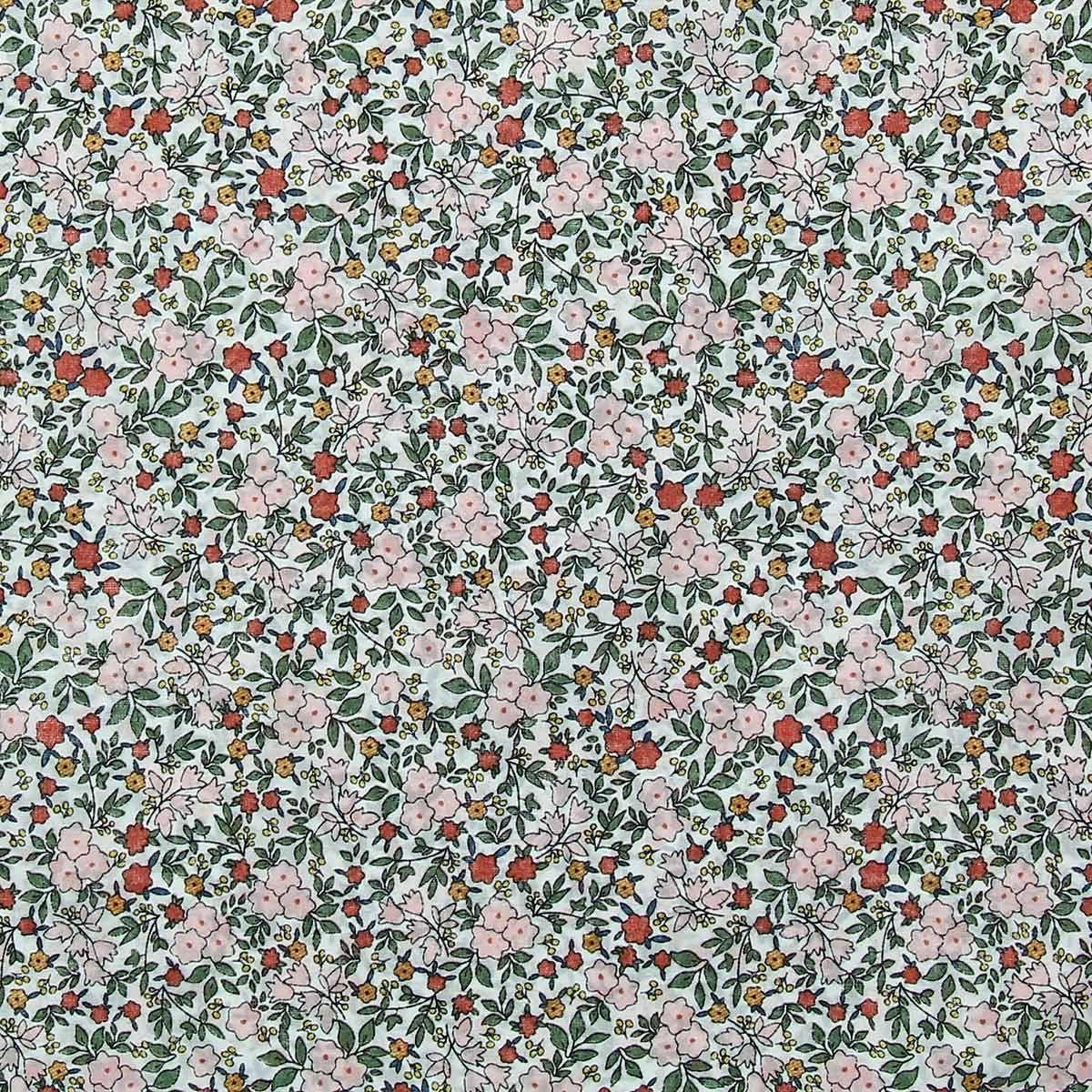 Tissu voile de coton fleuri BIO - Fleuri rose et orange