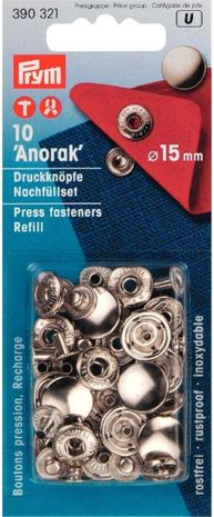 Recharge boutons pression anorak 15 mm Argent