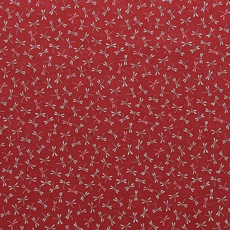 Tissu coton sashiko Sevenberry - Libellules fond rouge