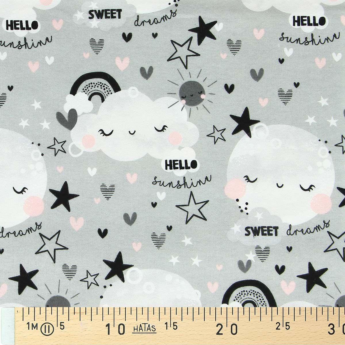 Tissu flanelle 3 wishes Fabric - Nuage et étoile fond gris