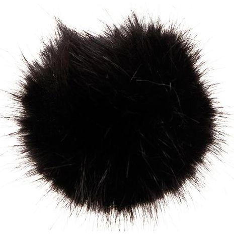 Pompon imitation fourrure 10 cm - Noir