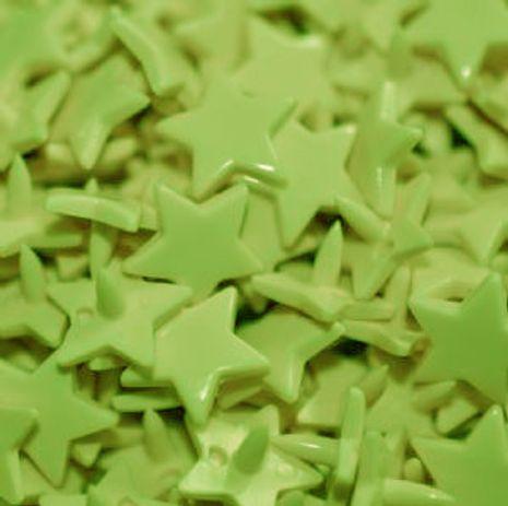 Sachet de 25 pressions résine étoiles - Vert fluo