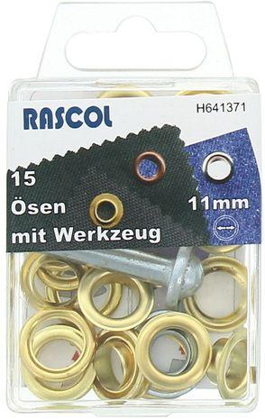 Boite 15 oeillets 11 mm avec outil de pose Rascol - Or