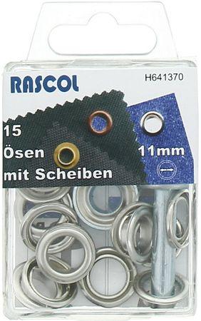 Boite 15 oeillets 11 mm avec outil de pose Rascol - Argent