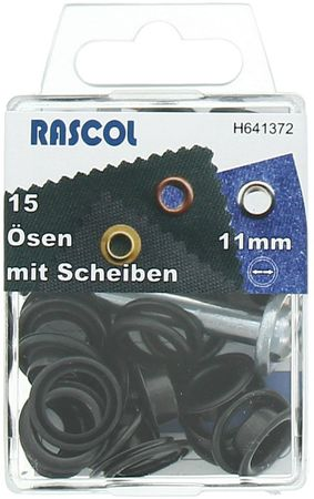 Boite 15 oeillets 11 mm avec outil de pose Rascol - Noir