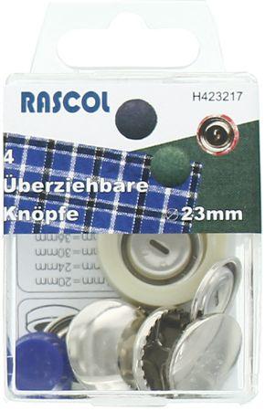 Boite de 4 boutons à recouvrir avec outil Rascol - 23 mm