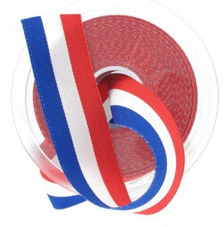 Ruban tricolore français pièce 25 m - 100 mm
