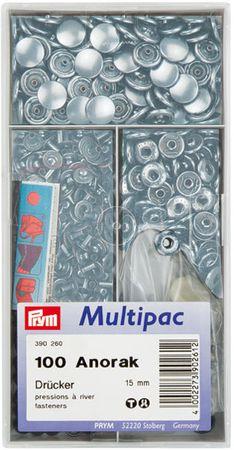 Multipac de 100 boutons pression Anorak - Argent 15mm