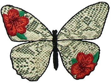 Motif papillon mode fleurs rouges