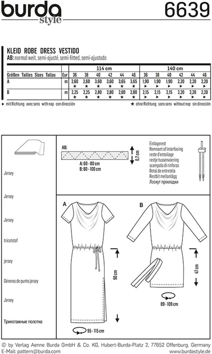 Patron de robe - Burda 6639