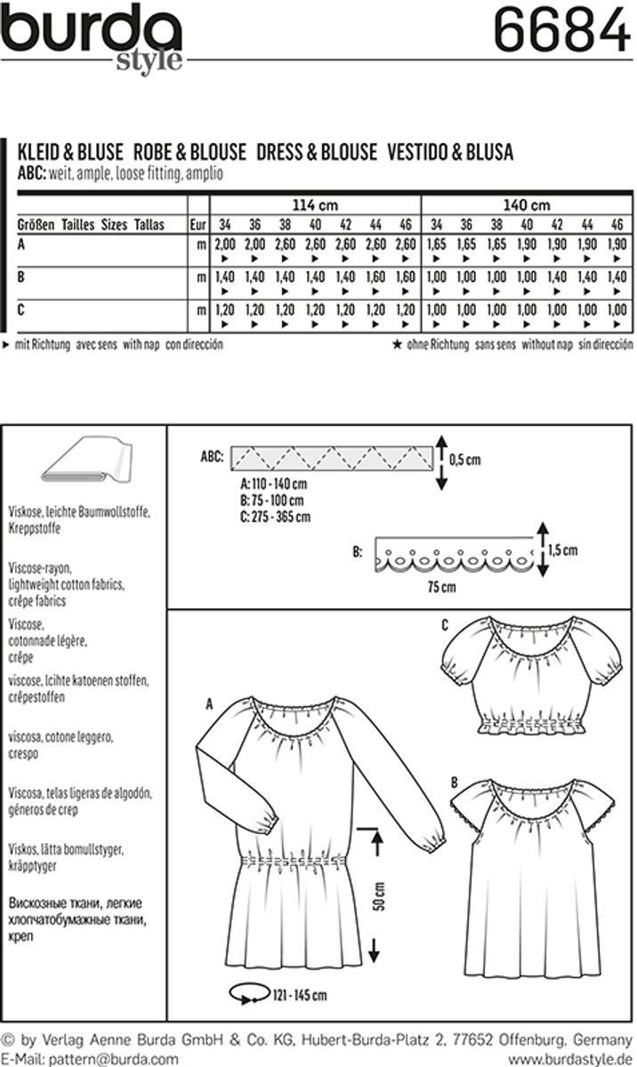 Patron de robe et blouse - Burda 6684