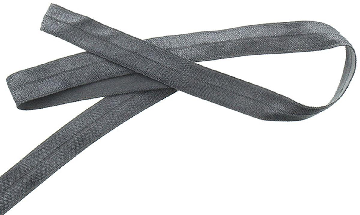 Biais élastique pré-plié 15 mm de large - Gris