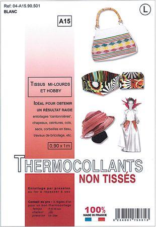 Entoilage non tissé thermocollant - Tissus mi-lourds et hobby - Blanc