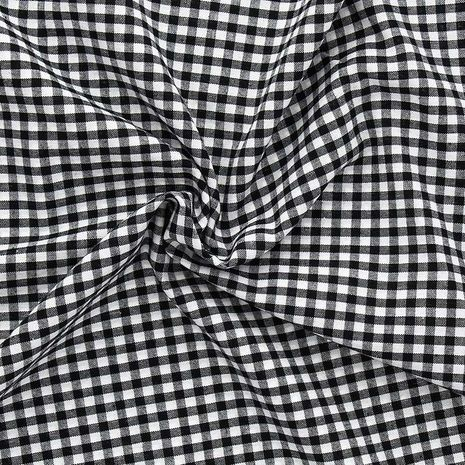 Tissu Vichy grands carreaux - Noir