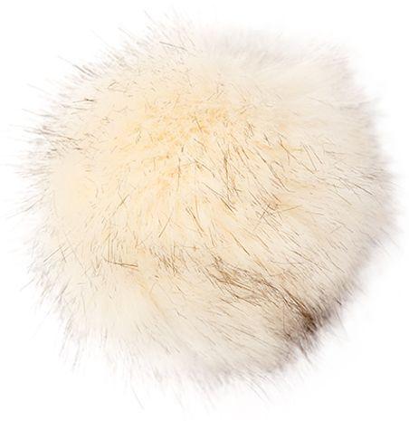 Pompon imitation fourrure 10 cm - Premium crème et noir