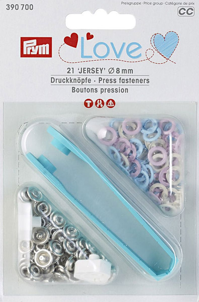 Boutons pression jersey rose, bleu et écru avec outil 8 mm