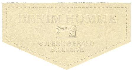 Étiquette à coudre cuir denim - Beige