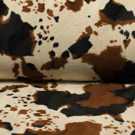 Tissu velours effet peau de bête - Vache marron et écru
