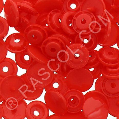 Sachet de 25 pressions résine KAM ronds - Rouge clair