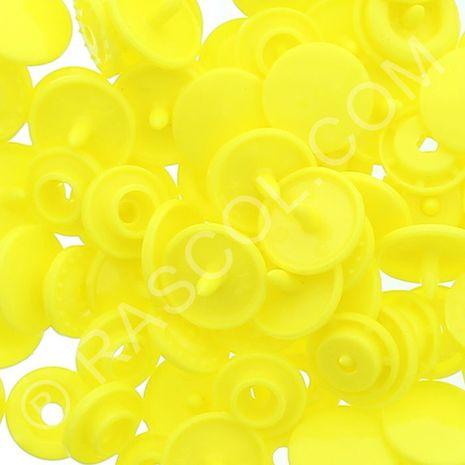 Sachet de 25 pressions résine KAM ronds - Jaune citron