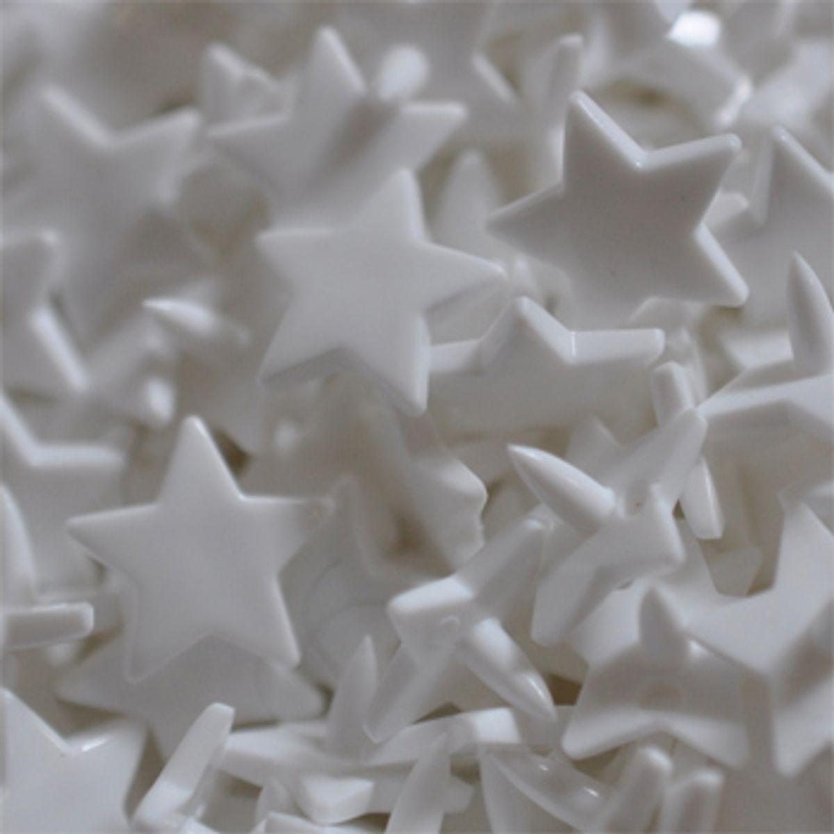 Sachet de 25 pressions résine étoiles - Blanc