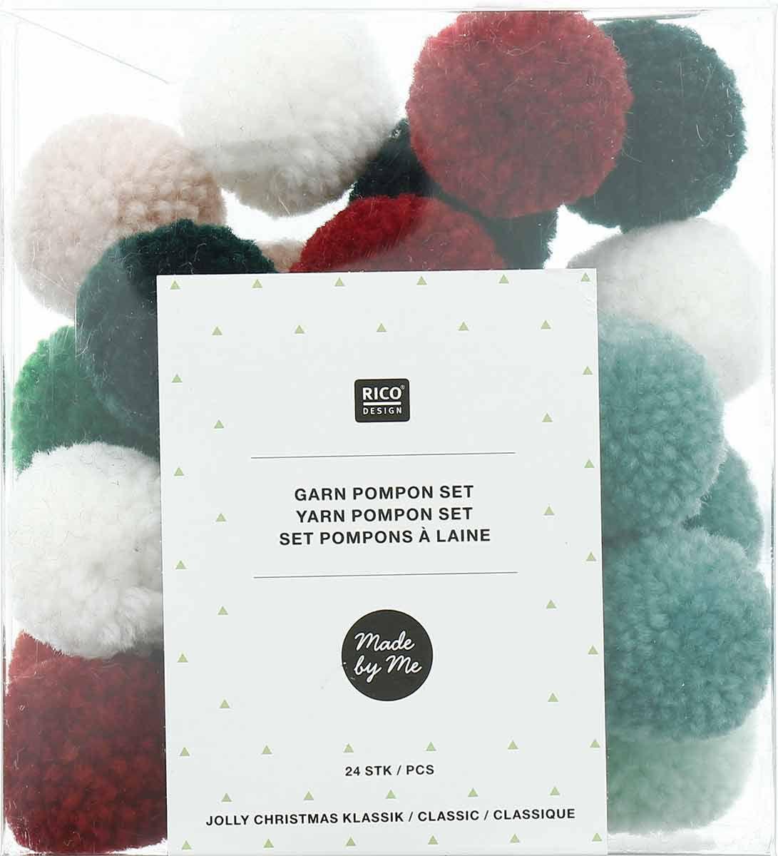 Set de 24 pompons en laine - Jolly christmas classique