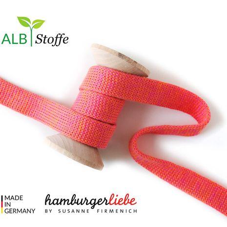 Cordon plat tricoté au mètre - Rouge mélangé