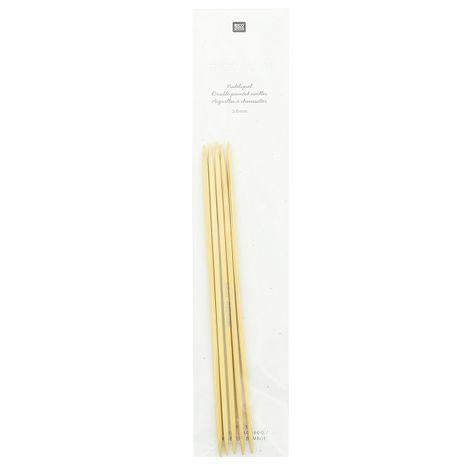 Aiguilles doubles pointes en bois de bambou 3 mm