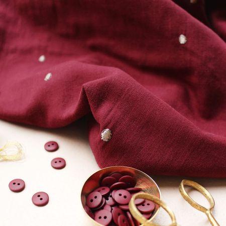 Tissu double gaze Stardust Amarante - Atelier Brunette