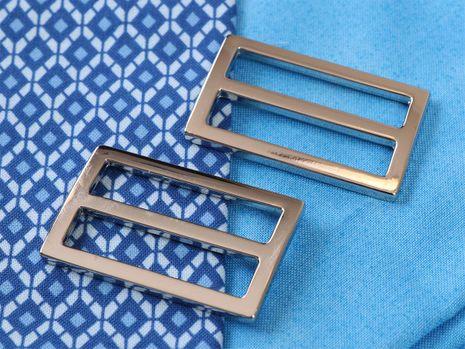 Set de 2 boucles coulissantes 22 x 38 mm argent