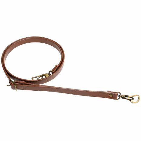 Sangle bandoulière de sac simili marron avec mousqueton bronze - 1,8 cm x 138 cm