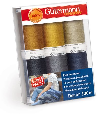 Set de 6 fils à coudre Denim Gütermann