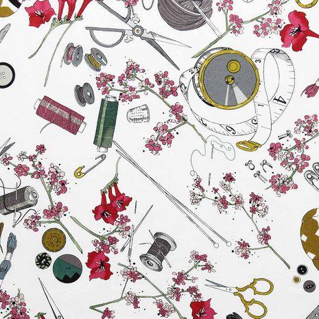Tissu coton Alexander Henry - The Ghastlies blanc