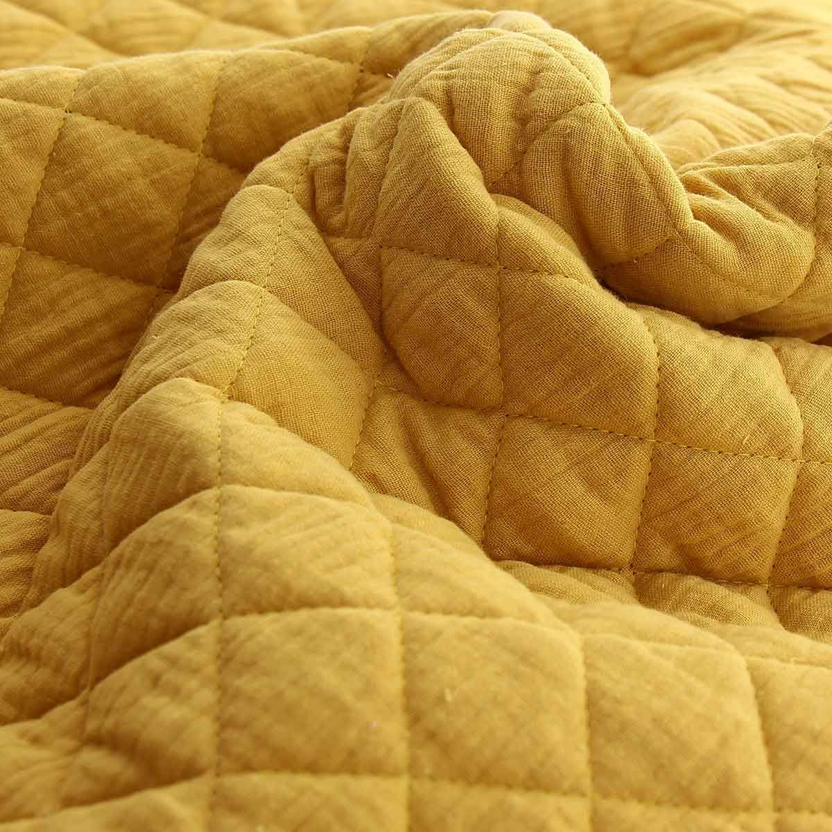 Tissu double gaze de coton matelassé - Moutarde